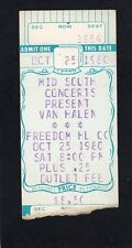 1980 Van Halen Concert Ticket Stub Johnson City TN Woman And Children First b