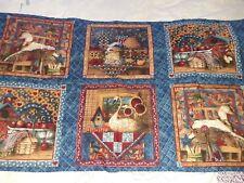 Cotton patchwork fabric squares Anna Krajewski scenes rocking horse