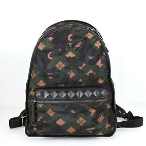 $675 MCM Green Medium Dieter Backpack in Munich Lion Camo Nylon MUK7ADT01GX001