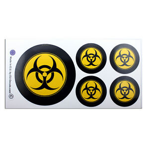 "100mm-4* & 50mm-2"" Biohazard Mod Laminated Decals Stickers High Quality"