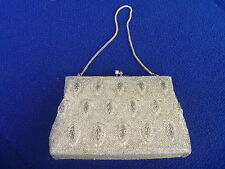 Vintage Art Deco Leaf Pattern Fully Beaded w Silver Frame Evening Purse Bag