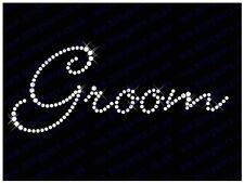 "Diamonte Hotfix Wedding Transfers Rhinestones iron On Motif ""Groom"" - Style - 1"
