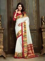 White Patola Silk Saree Bollywood Party Wear Indian Ethnic Wedding Designer Sari