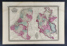 1867 Johnson Map Holland Belgium Amsterdam Brussels Rotterdam Switzerland Geneva