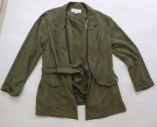 Daniel Rainn Size Medium Olive Green Belted Trench Casual Coat Jacket Women's