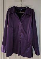 NWOT. Venezia  sz 22/24 Stretch Purple Collar Button Blouse, Long button Sleeve