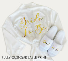 ROBE & SLIPPER SET Fully Customiseable Print Personalised Bridal Satin Dressing