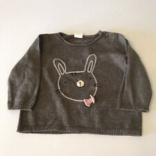 H&M Baby Girls Long Sleeve Pullover Knit Sweater Brown Embroidered Bunny 4-6 Mo