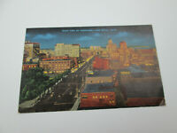 Vintage 1947 Long Beach California Postcard Night View of Downtown Posted