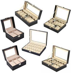 Uhrenkoffer Uhrenbox Schaukasten Uhrenkasten Uhrenvitrine mit Echtglas-Fenster