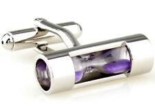Men's Silver Vintage Purple Hourglass Cufflinks Stainless Steel Cuff Links