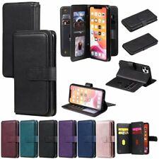 Para iPhone 11 Pro X XS XR Max 8 7 6s SE 2020 Funda billetera de cuero magnética