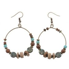 Women's Vintage Bohemian Boho Style Multicolor Wooden Beads Dangle Big Earrings