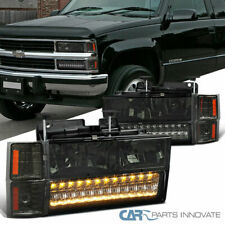 Fit 94-98 C/K Tahoe Suburban Smoke Lens Headlights+LED Bumper+Amber Corner Lamps