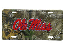 "Ole Miss Mississippi Rebel Realtree Camouflage 6""x12"" Aluminum License Plate Tag"