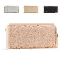 Ladies Cute Metallic Box Clutch Bag Top Clasp Glitter Evening Bag Handbag KZ2428