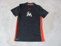 NIKE Miami Marlins Shirt Adult Small Black Orange Dri Fit MLB Baseball Gym Mens