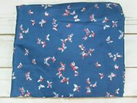 Butterfly Fabric Blue Red Pink 4 yd Silky Polyester Lightweight Feminine Vtg