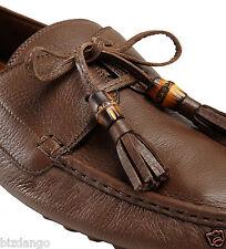 NEW Men's Gucci Newoak Leather 'Hebron' Bamboo Tassel Driving Loafers +7 $540