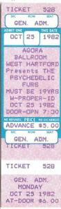 PSYCHEDELIC FURS 1982 UNUSED TICKET Agora WEST HARTFORD CT