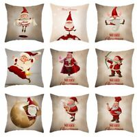 Christmas Funny Santa Claus Pillow Case Xmas Sofa Car Cushion Cover Home Decor