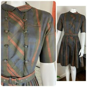 Vintage 50s 60s Plaid Pleated Cotton Full Skirt Mini Day Dress Pacemaker S Small