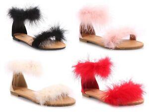 Fashion Ankle Strap Back Zipper Covered Heels Furry Decor Women Flat Sandals