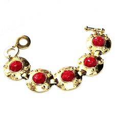 LERITZ Bracelet Creator Colour Gold Matt And Cabochons Red Jewel