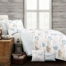 COASTAL DREAMS 7pc Full Queen QUILT SET : BEACH SEA SHELLS OCEAN REEF BLUE WHITE