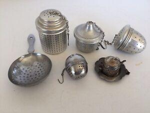 Five Vintage Tea Bag Loose Leaf BALL INFUSER STRAINERS Aluminum & Others, Acorn