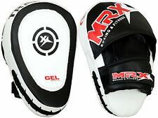MRX Gel Tech Focus Pads & Mitts Hook & Jab MMA Kick Boxing Muay Thai Curved, BW