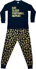 Boys Eat Sleep Football Repeat Long Pyjamas Gamer Cotton  PJs  gold