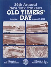 36th Annual New York Yankees Old Timers Day Game Program August 7, 1982 Rare!!