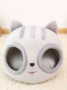Removable Cat Bed Warm Pet House Cave Winter Kitten Cushion Mat Cat Head Shaped