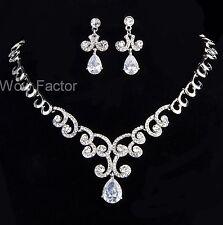 Rhinestone CZ Crystal Diamante Silver Tone Wedding Bridal Prom Jewellery Set
