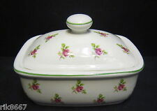 Dot rose English Fine Bone China butter dish By Milton China (Green Rim)