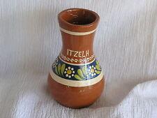 Vintage Judaisism Itzelh Iv-05-30 Clay Ceramic Blue Flower Vase Jar Pot Nice!