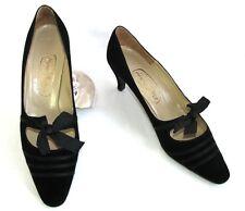 SALAMANDER Escarpins vintage cuir velours noir 7.5 = 38/38.5 EXCELLENT ETAT