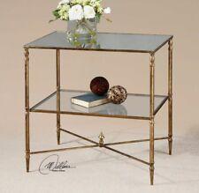 Henzler Side Accent End Table Hollywood Regency Antique Gold Leaf Mirror Glass