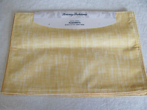 Tommy Bahama-Kenneth-Yellow & White- Set of 4 Placemats 13 x19-New