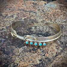 Bracelet, Sleeping Beauty Turquoise Navajo Sterling Stamped Feather