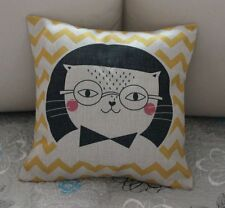 Cat Yellow Zig Zag Cotton Linen Cushion Cover Throw Pillow For Home Decor S2639