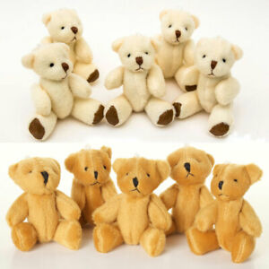 NEW - 8 X Teddy Bears - Small Cute Cuddly - 3 X White 5 X Brown