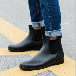 Mens Womens Plastic Pull On Waterproof Low Heel Ankle Boots Chelsea Water Shoes