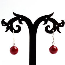 Beautiful 8mm Coral Red South Sea Shell Pearl Silver Hook Dangle Earrings AAA+