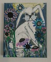 PRIMITIVE  FOLK Painting WHITE BUNNY Shelter in Place Series 2020 canvas 8 x10
