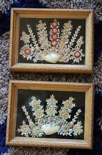Vintage framed seashell art / flowers / shells / shadow box
