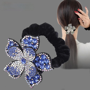 Female Rhinestone Scrunchies Elastic Hair Band Flower Rope Ring Hair Accessories