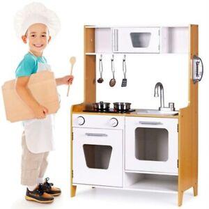 Cucina in legno Giocattolo Bambini con Pentole e Accessori Gioco in Acciaio