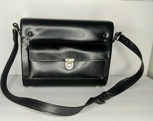 Vintage Black Hard Case Leather Camera Bag Case w/ Leather Straps